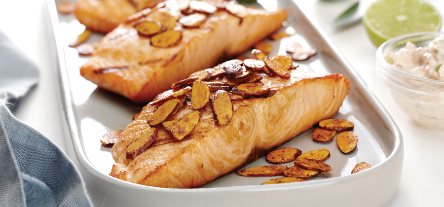 13194 Grilled Salmon with Spiced Almonds