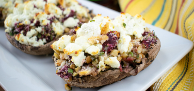 Roasted Portobello Mushrooms with Beets and Goat Cheese