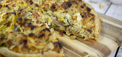 Savory Leek, California Raisins and Ricotta Tart