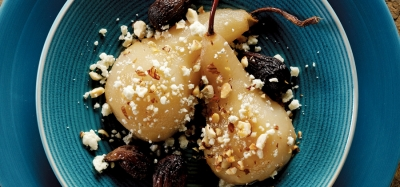 Savory Honey Mustard Poached Pears and Figs