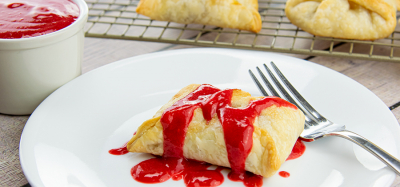 Fresh Pear Dumplings with Raspberry Sauce