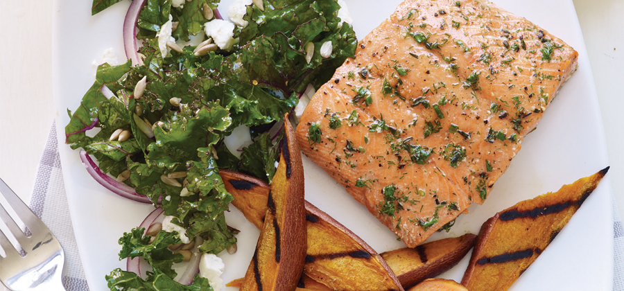 13134 Cedar Plank Grilled Salmon with Sweet Potatoes