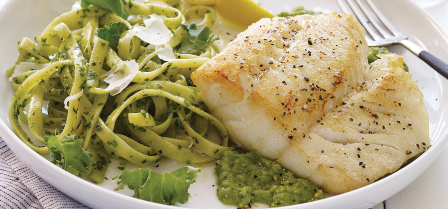 13134 Pan Seared Cod over Minted Pea Puree
