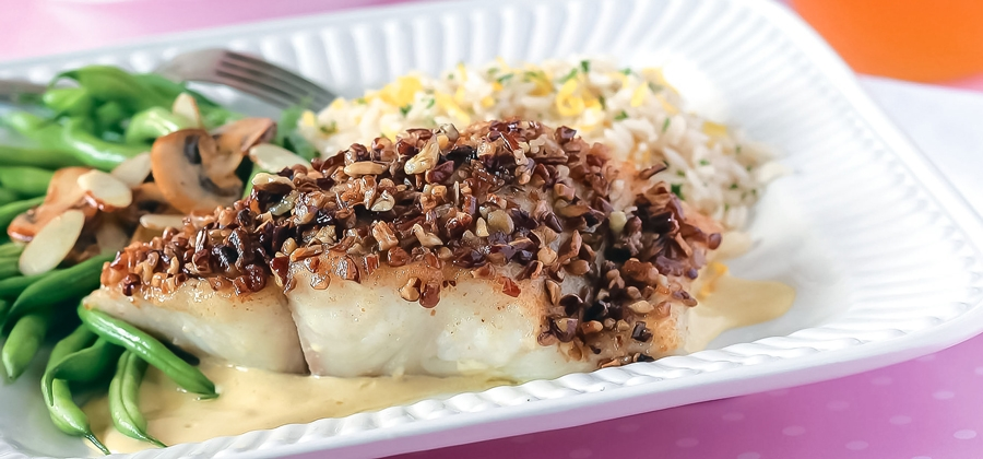 Pecan-Crusted Halibut Fillets