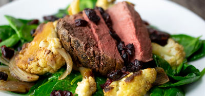 Beef Tenderloin with Roasted Cauliflower and Spinach Salad